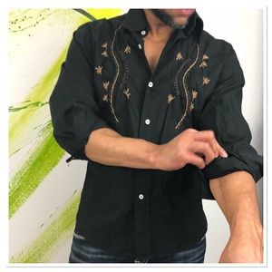 Long sleeve floral embroidered button down shirt